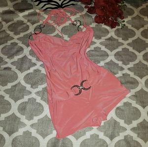 DeMore Sexy Halter Style Romper With Studded Belt